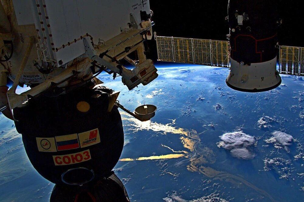Vista do rio Amazonas a partir da Estação Espacial Internacional