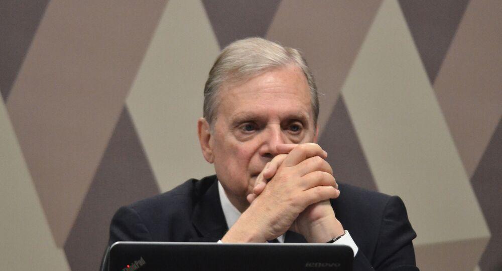 O senador Tasso Jereissati (PSDB-CE), relator da PEC 06/2019, da reforma da Previdência, durante reunião na Comissão de Constituição e Justiça (CCJ), no Senado Federal em Brasília, em 1º de outubro de 2019.
