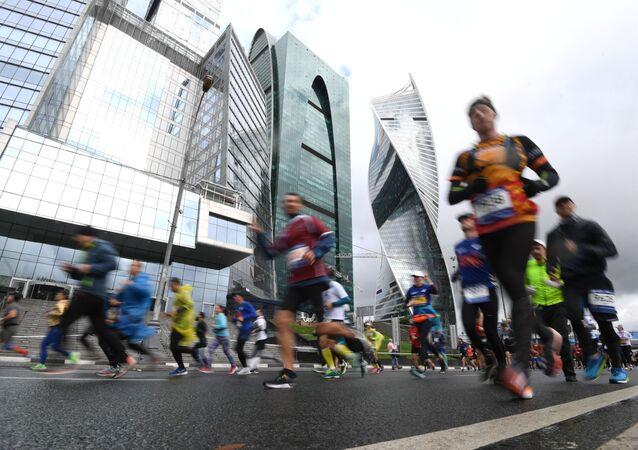 Participantes da Maratona de Moscou, em 22 de setembro de 2019