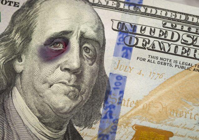 Benjamin Franklin com olho roxo em nota de 100 dólares americanos