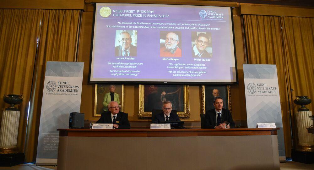Ganhadores do Nobel de Física de 2019: James Peebles, Michel Mayor e Didier Queloz, 8 de outubro de 2019