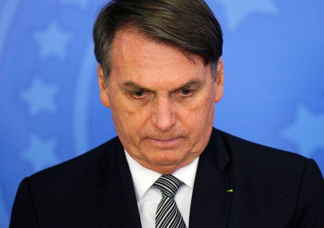 Presidente do Brasil, Jair Bolsonaro, na cerimônia de posse do novo procurador-geral da República, Augusto Aras, no Palácio do Planalto, Brasília, 26 de setembro de 2019