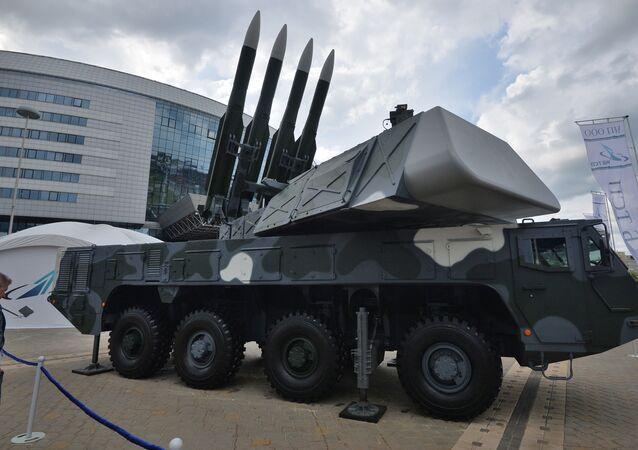 Sistema de defesa anti-aérea da classe Buk-M2, apresentado em exposição internacional MILEX-2019, em Minsk