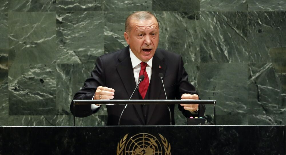 Presidente da Turquia, Recep Tayyip Erdogan, discursando na ONU em 2019 (foto de arquivo)
