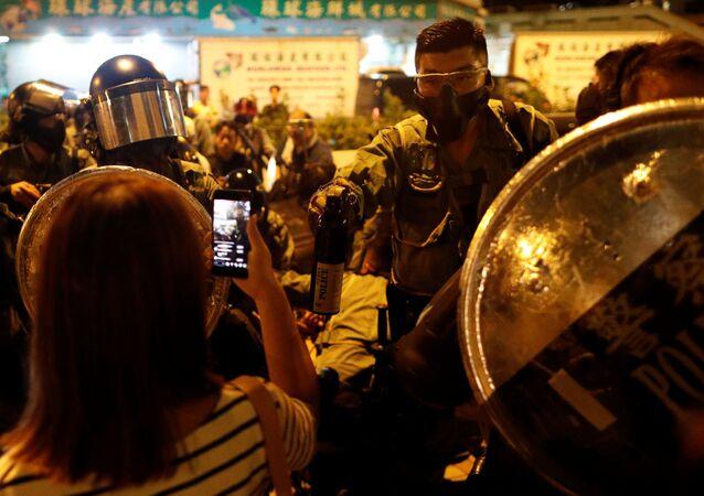 Protesto em Hong Kong, China, em 3 de outubro de 2019.