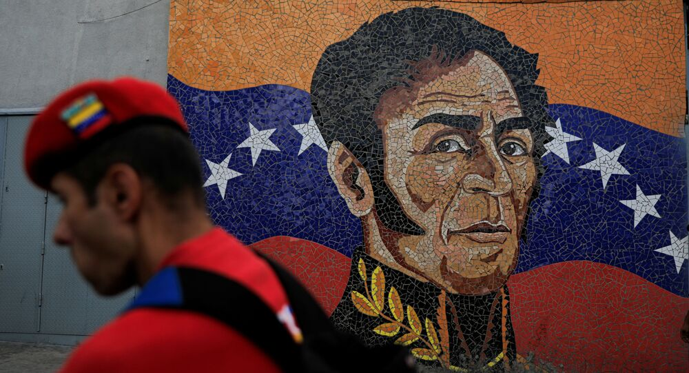 Retrato de Simón Bolívar na bandeira da Venezuela