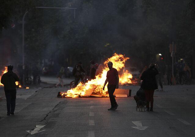 Protestos em Santiago, no Chile, 20 de outubro de 2019