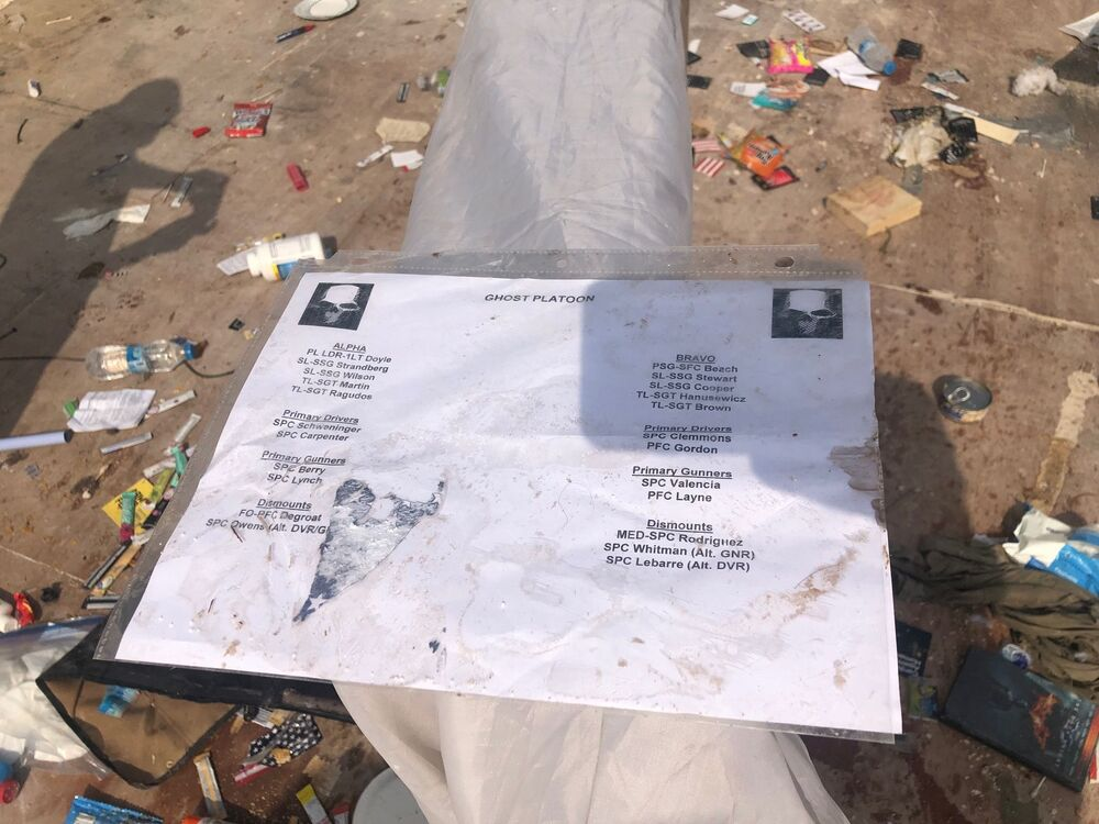 Lista de grupos de combate com nomes e especialidades de militares americanos na abandonada base do Exército dos EUA no nordeste da Síria
