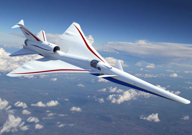 Modelo do avião supersônico Lockheed Martin X-59 (imagem referencial)