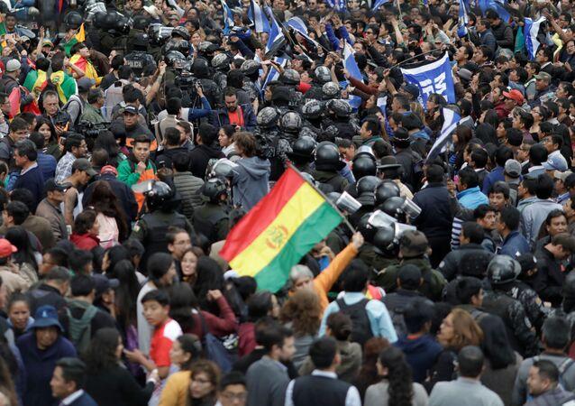 Manifestação em La Paz após eleições gerais na Bolívia (arquivo)
