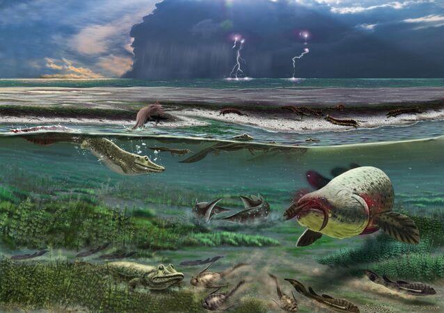 Representação artística de um armastega aelidae há 372 milhões de anos