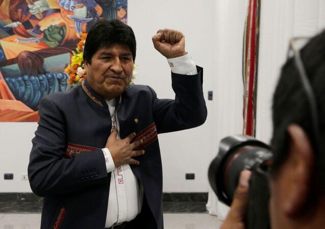 Evo Morales, presidente da Bolívia, durante coletiva de imprensa no palácio La Casa Grande del Pueblo, em La Paz, em 24 de outubro de 2019