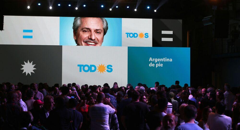 Sede eleitoral do Frente de Todos, do candidato opositor na eleição argentina Alberto Fernández, em Buenos Aires