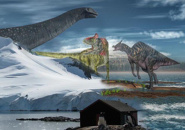 Ilustração artística dos dinossauros que habitavam a Antártica há 200 milhões de anos