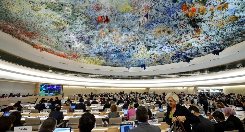 Sala usada pelo Conselho de Direitos Humanos das Nações Unidas no Palácio das Nações, em Genebra, Suíça