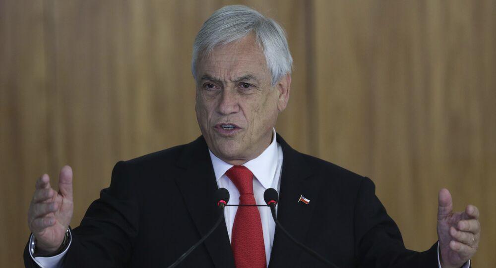 Sebastián Piñera, presidente do Chile, durante visita ao Brasil, em 27 de abril de 2018