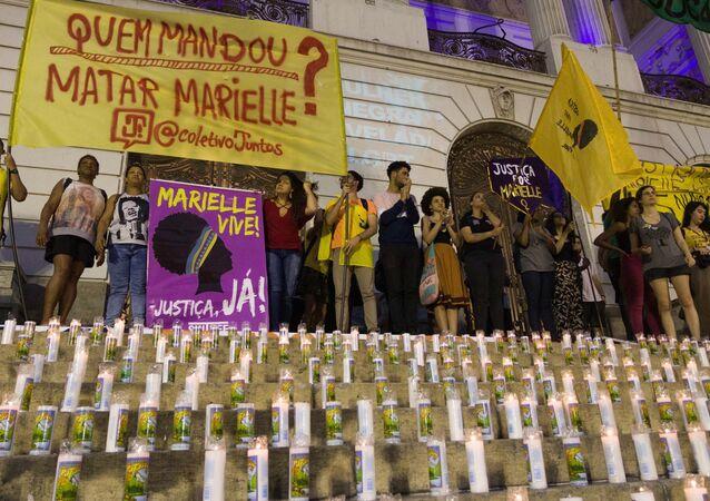 Protesto Quem Mandou Matar Marielle? no Rio de Janeiro, com presença de políticos e familiares da vereadora (arquivo)