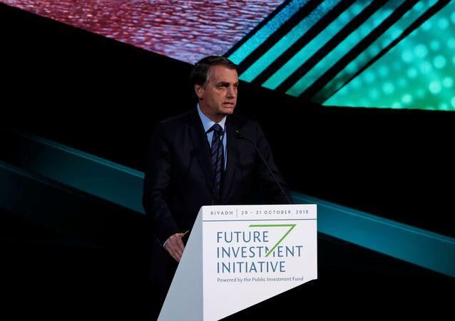 O presidente Jair Bolsonaro discursa em evento para investidores na Arábia Saudita.