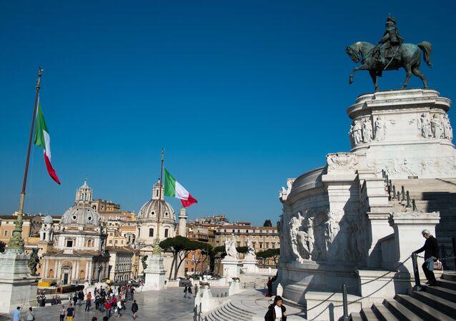 Piazza Venezia em Roma, Itália