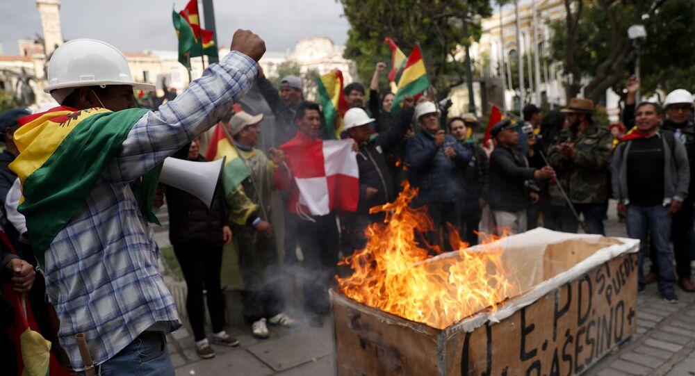 Protestos em La Paz em 10/11/2019