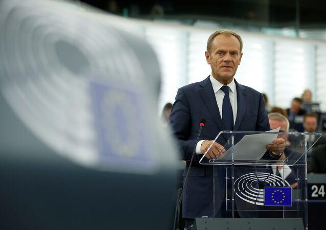 O presidente do Conselho Europeu, Donald Tusk, durante um debate sobre a última cúpula da UE e o Brexit no Parlamento Europeu, em Estrasburgo, 22 de outubro de 2019