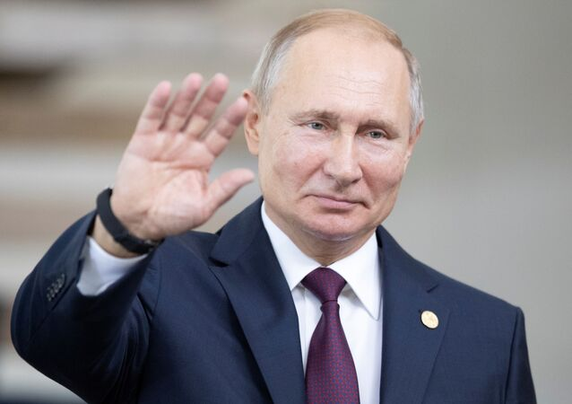 Presidente da Rússia, Vladimir Putin, participa da 11ª Cúpula do BRICS, em Brasília.