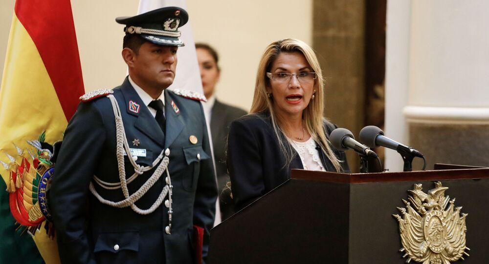 Autoproclamada presidente interina da Bolívia, Jeanine Áñez, durante cerimônia de posse de novo comandante da polícia boliviana