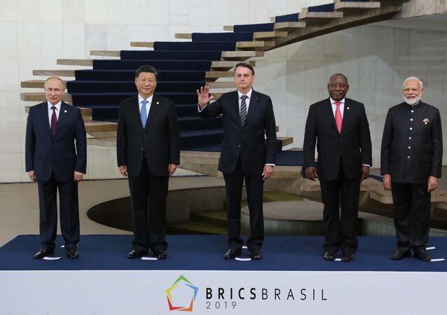 Os presidentes Jair Bolsonaro, Xi Jinping (China), Vladimir Putin (Rússia), Narendra Modi (Índia) e Cyril Ramaphosa (África do Sul), durante encontro do BRICS 2019, no Palácio Itamaraty em Brasília (DF)