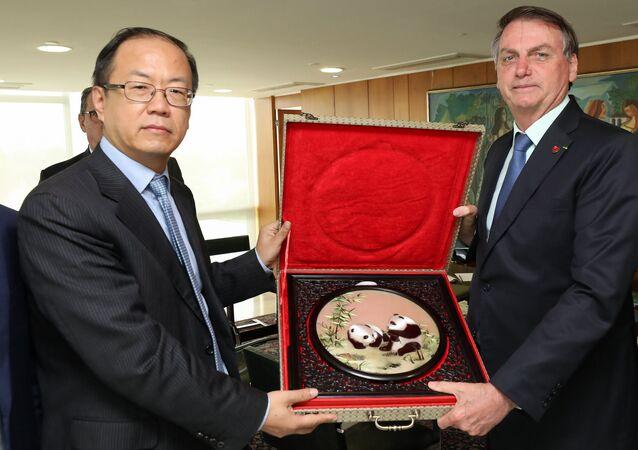 Audiência com Yao Wei, CEO da Huawei do Brasil, com o presidente Jair Bolsonaro (arquivo)