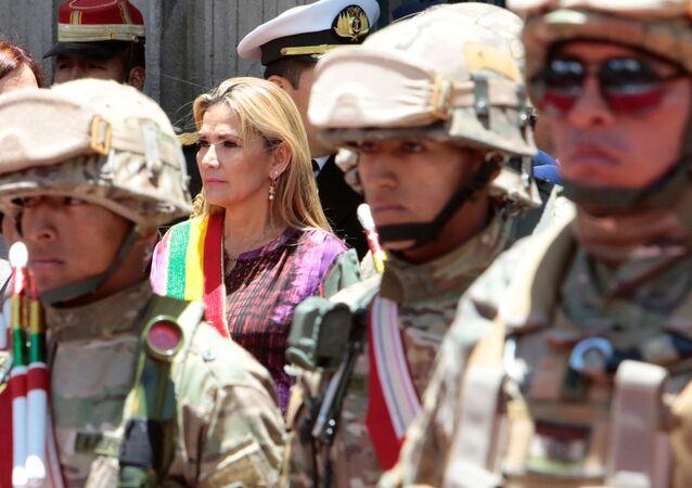 Presidente interina da Bolívia comparece a cerimônia em La Paz sob forte esquema de segurança, em 18 de novembro de 2019