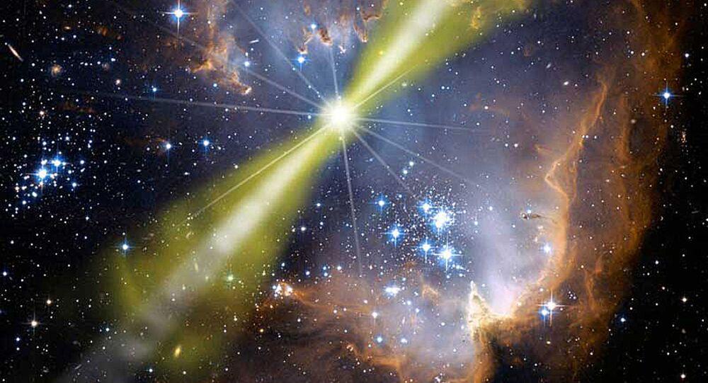Ilustração artística da erupção de raios gama GRB 080319B
