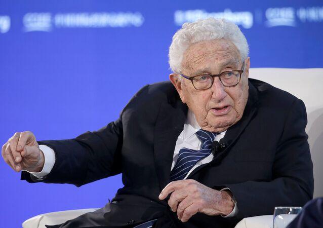 Henri Kissinger participa de debate no Fórum Nova Economia 2019, em Pequim, em 21 de novembro de 2019