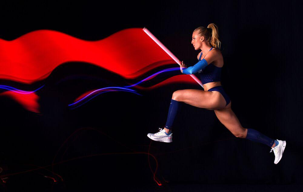 Saltadora com vara americana Sandi Morris posa durante sessão de fotos do Team USA Tokyo 2020 Olympics na Califórnia