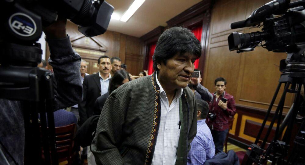 Presidente deposto da Bolívia, Evo Morales, após conferência de imprensa na Cidade do México, em 27 de novembro de 2019