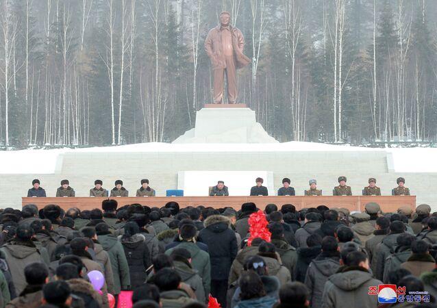 Cerimônia da inauguração da cidade de Samjiyon, na coreia do Norte, em 2 de dezembro de 2019