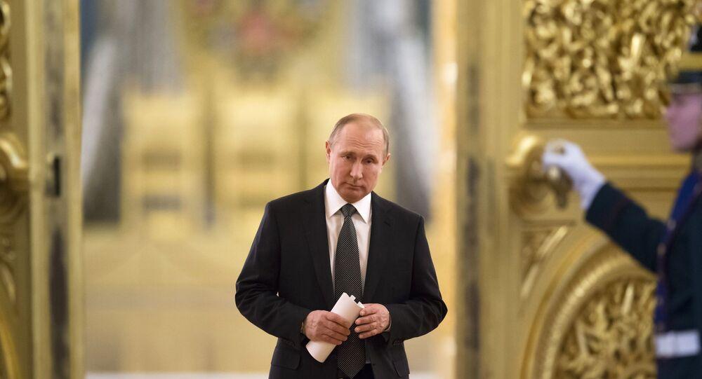 Presidente russo, Vladimir Putin, chega em reunião do Conselho de Estado, no Kremlin, em Moscou (foto de arquivo)