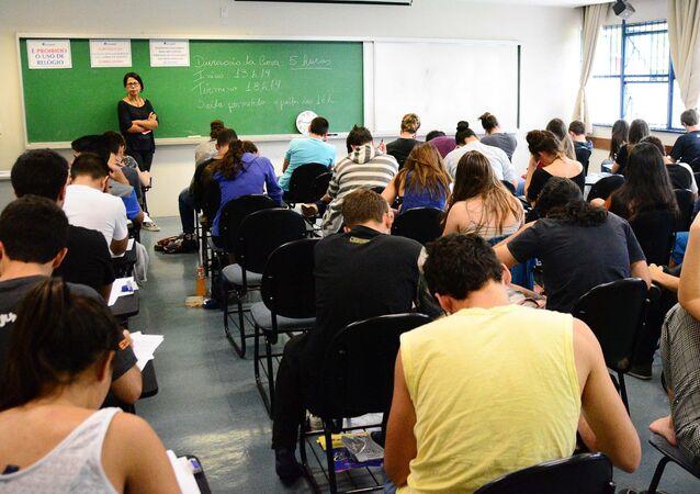 Estudantes fazem prova da primeira fase da Fuvest 2018, São Paulo (imagem de arquivo)
