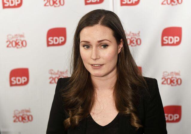 A nova primeira-ministra da Finlândia, Sanna Marin, durante evento do Partido Social Democrata em Helsinque no dia 8 de dezembro de 2019.