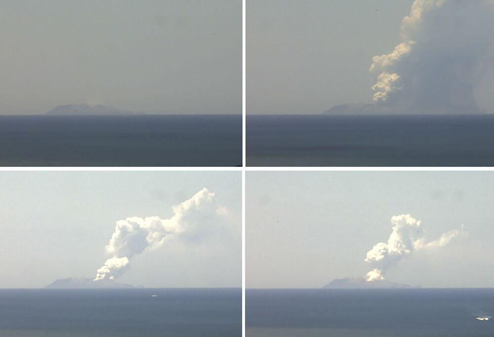 Combinação de fotos retrata erupção de vulcão na neozelandesa Ilha Branca.