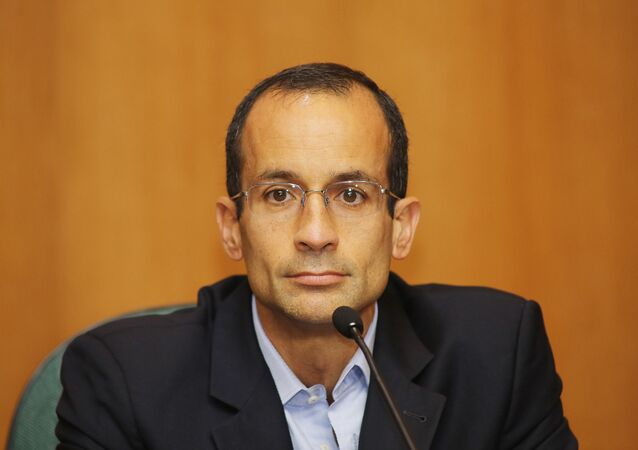 Marcelo Odebrecht presta depoimento em audiência da CPI da Petrobras em Curitiba, em 2015.