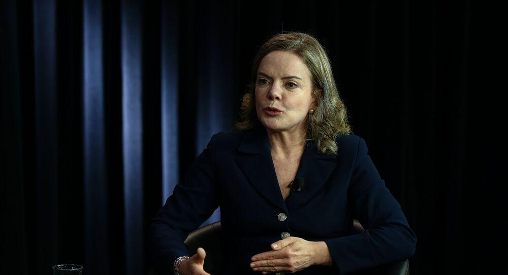 A presidente nacional do PT (Partido dos Trabalhadores), deputada federal Gleisi Hoffmann (PT-PR).