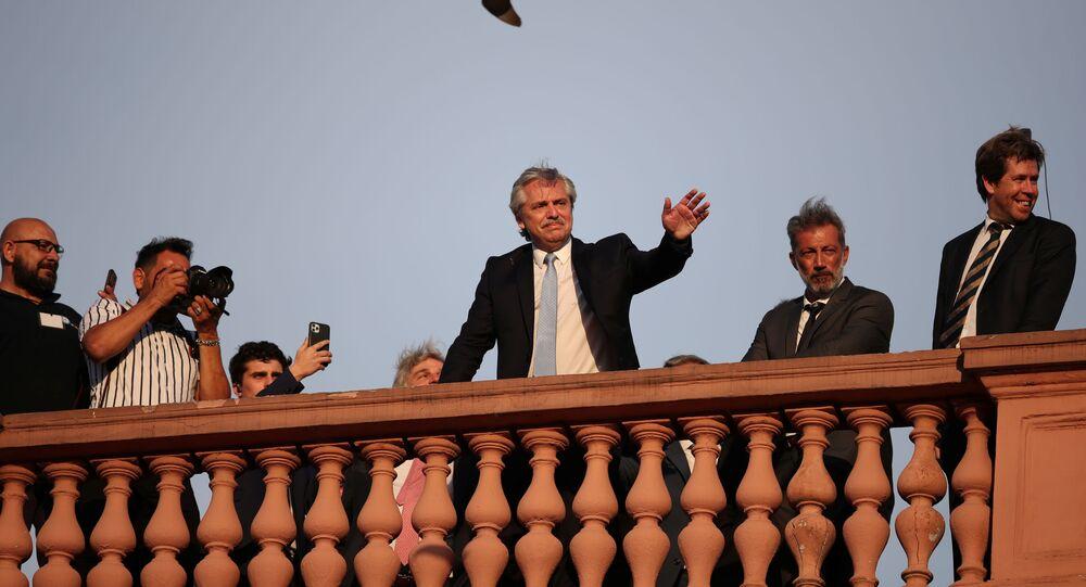 Alberto Fernández, presidente da Argentina, durante sua posse na Casa Rosada