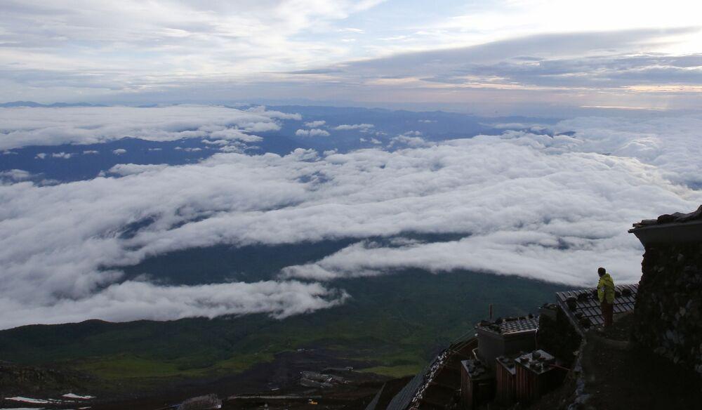 Paisagem debaixo do Monte Fuji, Japão
