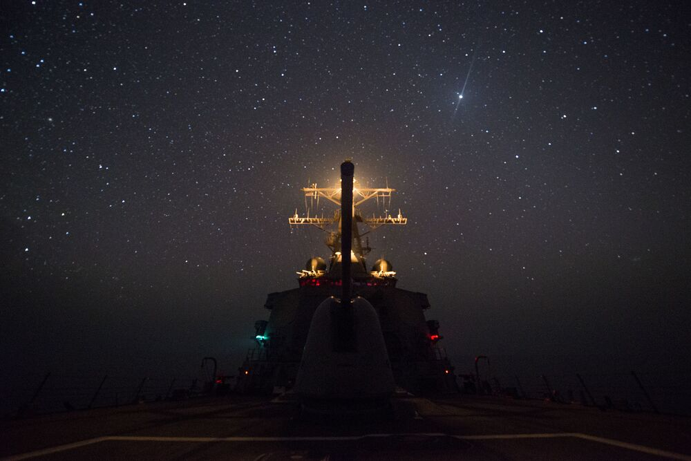 Destróier USS Gonzales em trânsito pelo golfo de Áden.  O Japão se destaca como a a maior potencia naval do mundo, segundo revista militar National Interest.