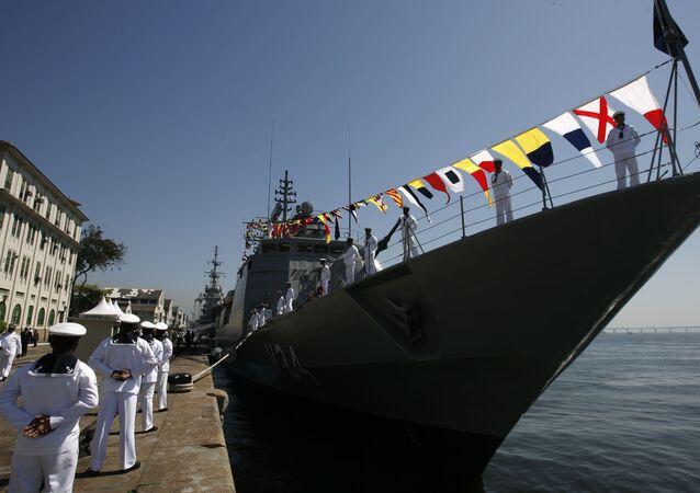 Corveta Barroso, incorporada pela Marinha brasileira, atraca no 1° Distrito Naval, no centro do Rio de Janeiro (RJ)