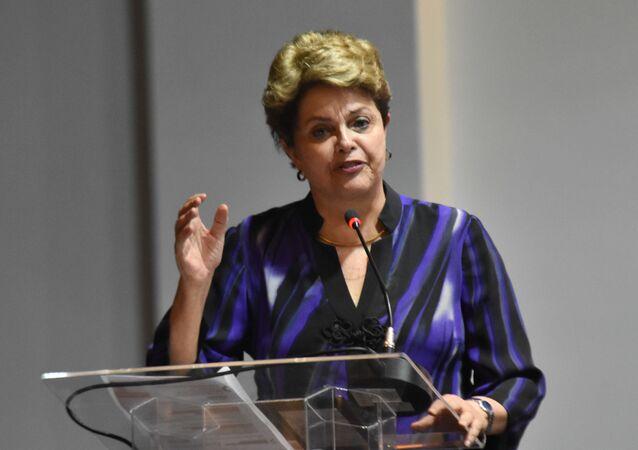 A ex-presidente Dilma Rousseff durante o Congresso Nacional do PT