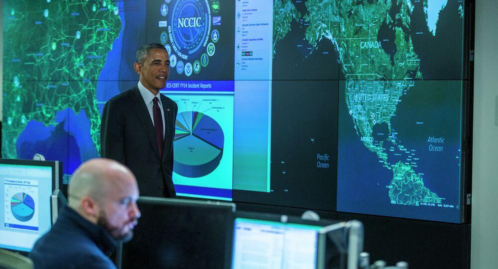 Presidente dos EUA Barack Obama no Centro Nacional de Cibersegurança e Integração em Comunicações, em Arlington