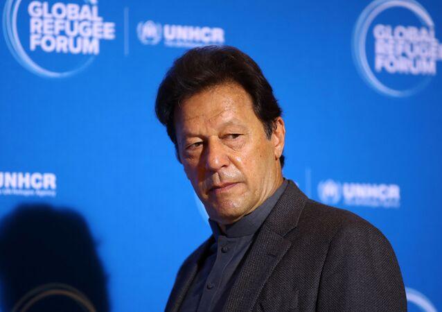 Primeiro-ministro paquistanês Imran Khan durante evento da ONU em Genebra