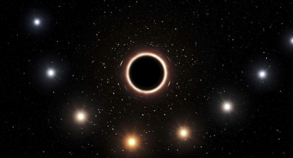 Representação buraco negro supermassivo fornecida pelo Observatório Europeu do sul em julho de 2018