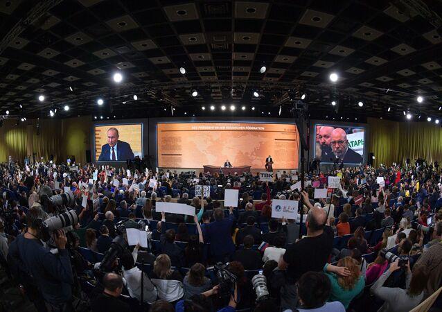 15ª coletiva de imprensa de Vladimir Putin no Centro de Comércio Internacional de Moscou, 19 de dezembro de 2019